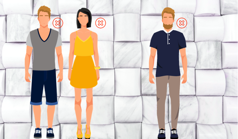 Illustration of bad office dress options