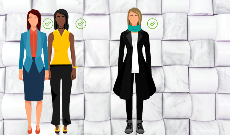 Illustration of good female office dress options